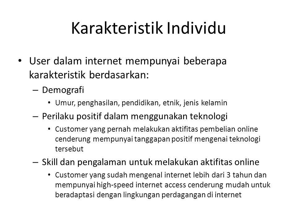 Karakteristik Individu User dalam internet mempunyai beberapa karakteristik berdasarkan: – Demografi Umur, penghasilan, pendidikan, etnik, jenis kelam