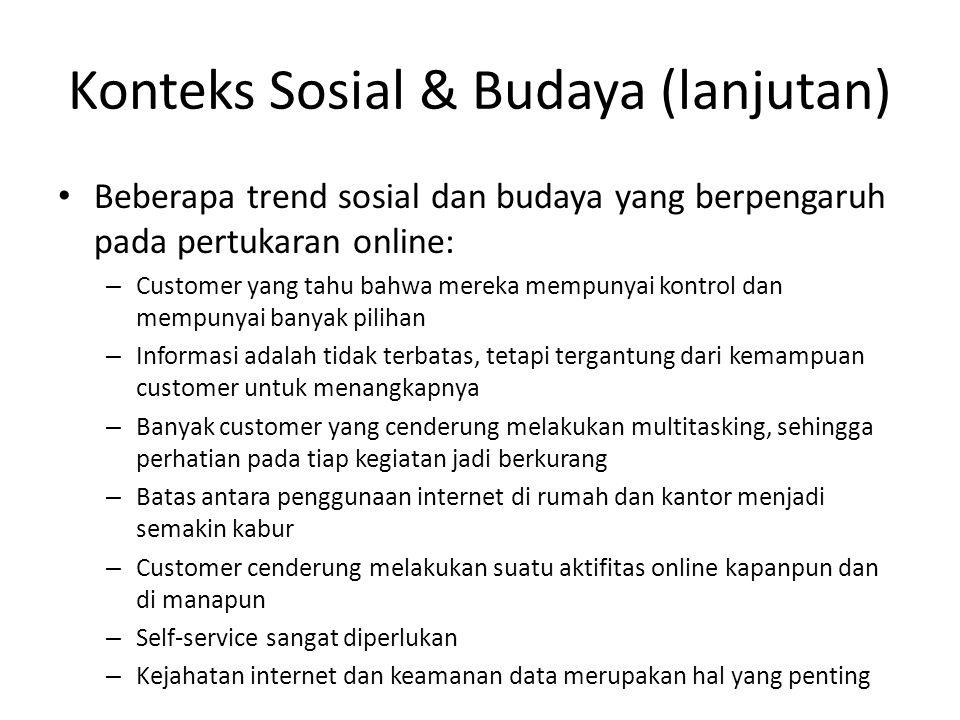 Konteks Sosial & Budaya (lanjutan) Beberapa trend sosial dan budaya yang berpengaruh pada pertukaran online: – Customer yang tahu bahwa mereka mempuny