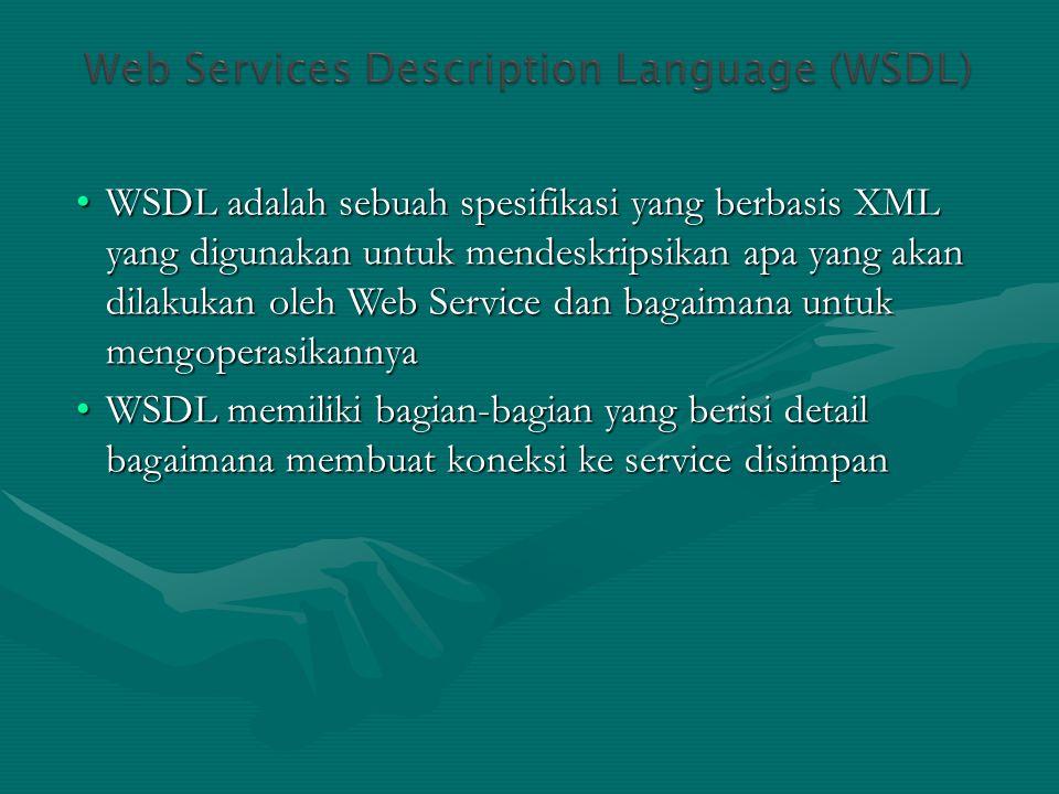 WSDL adalah sebuah spesifikasi yang berbasis XML yang digunakan untuk mendeskripsikan apa yang akan dilakukan oleh Web Service dan bagaimana untuk men