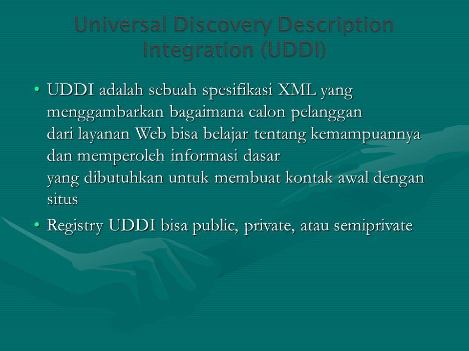 UDDI adalah sebuah spesifikasi XML yang menggambarkan bagaimana calon pelanggan dari layanan Web bisa belajar tentang kemampuannya dan memperoleh info