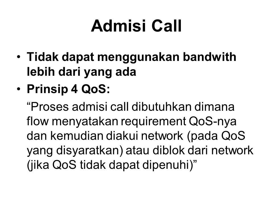 """Admisi Call Tidak dapat menggunakan bandwith lebih dari yang ada Prinsip 4 QoS: """"Proses admisi call dibutuhkan dimana flow menyatakan requirement QoS-"""