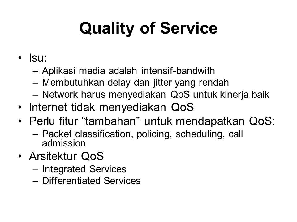 Ringkasan Multimedia Networking Aplikasi –Bandwidth-intense, delay-sensitive QoS perlu –Harus ditambahkan pada Internet yang ada QoS: –Classification –Policing –Scheduling Arsitektur QoS: –IntServ –DiffServ