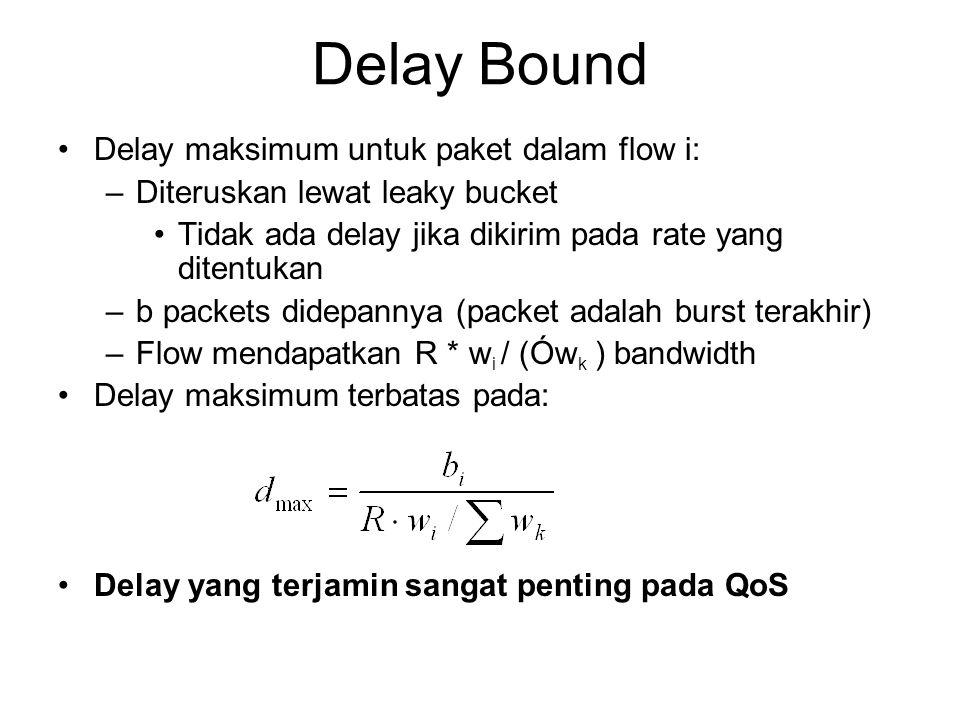Delay Bound Delay maksimum untuk paket dalam flow i: –Diteruskan lewat leaky bucket Tidak ada delay jika dikirim pada rate yang ditentukan –b packets