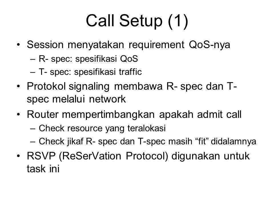 Call Setup (1) Session menyatakan requirement QoS-nya –R- spec: spesifikasi QoS –T- spec: spesifikasi traffic Protokol signaling membawa R- spec dan T