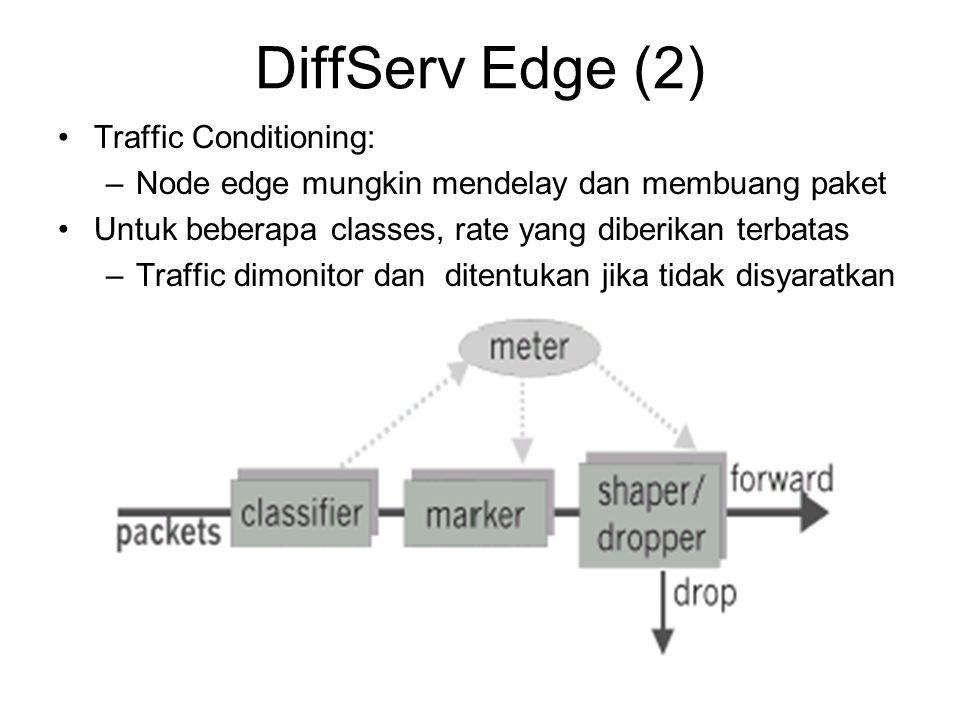 DiffServ Edge (2) Traffic Conditioning: –Node edge mungkin mendelay dan membuang paket Untuk beberapa classes, rate yang diberikan terbatas –Traffic d