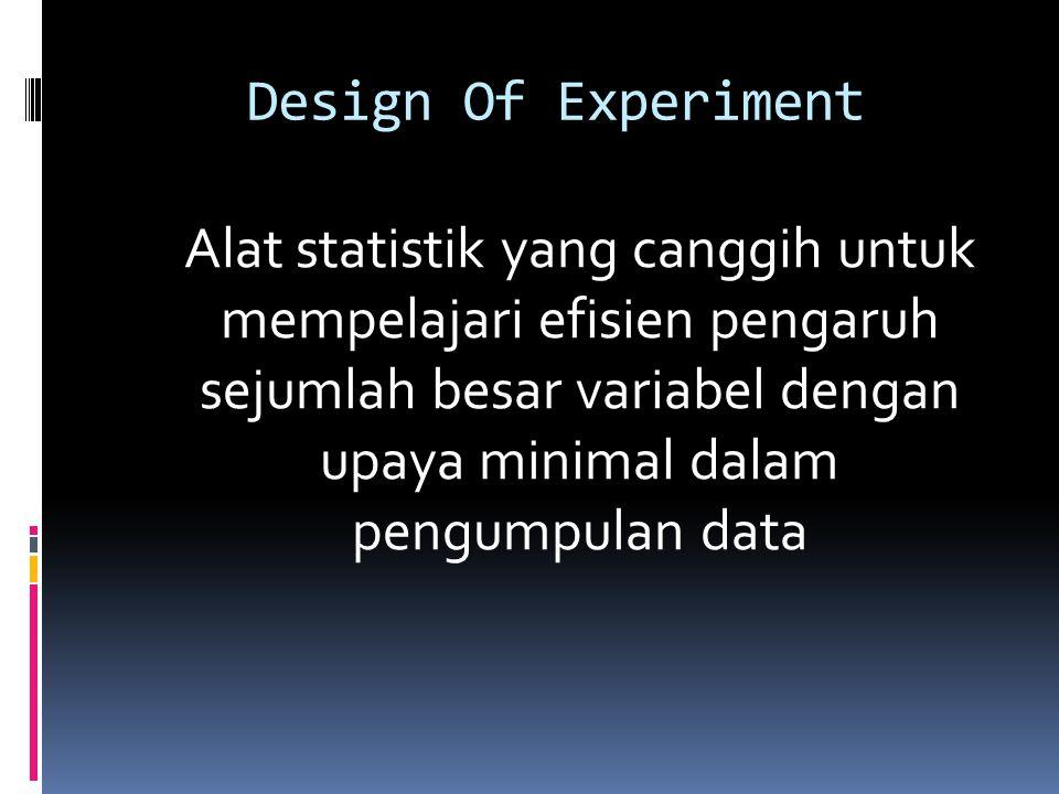 Design Of Experiment Alat statistik yang canggih untuk mempelajari efisien pengaruh sejumlah besar variabel dengan upaya minimal dalam pengumpulan dat