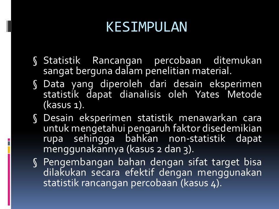 KESIMPULAN § Statistik Rancangan percobaan ditemukan sangat berguna dalam penelitian material. § Data yang diperoleh dari desain eksperimen statistik