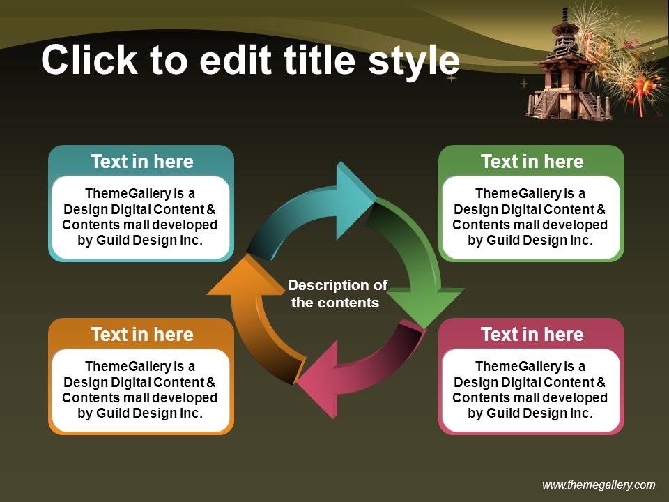 Click to edit title style Description of the contents Text in here ThemeGallery is a Design Digital Content & Contents mall developed by Guild Design