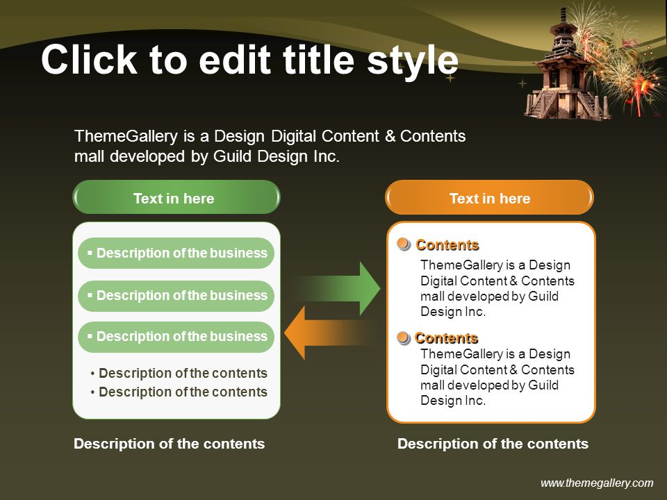 www.themegallery.com Click to edit title style Text in here Contents Contents ThemeGallery is a Design Digital Content & Contents mall developed by Gu