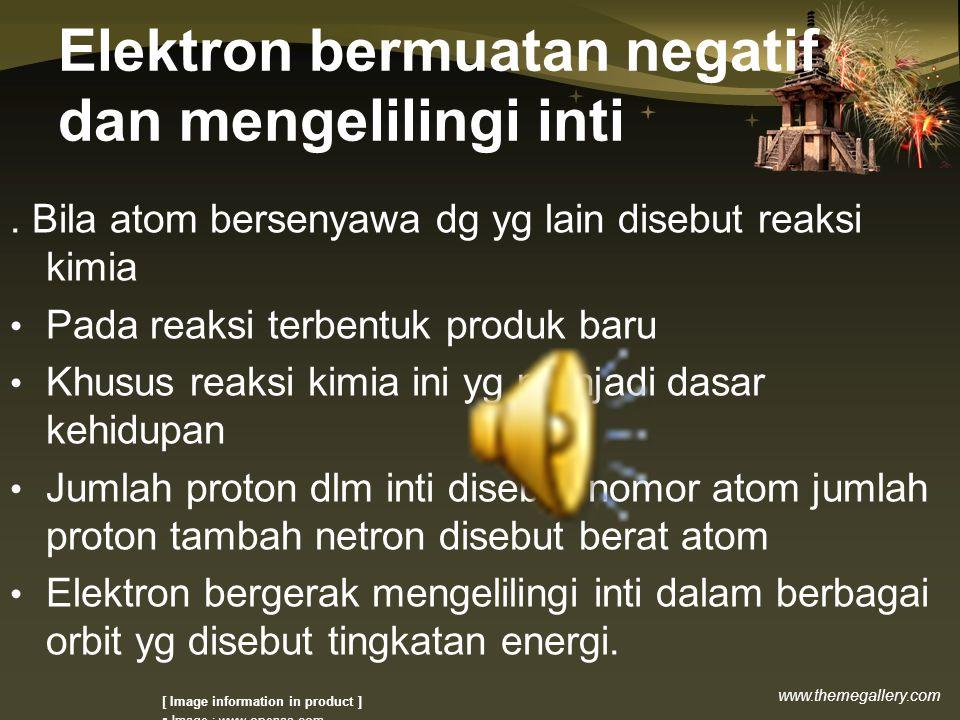 www.themegallery.com Elektron bermuatan negatif dan mengelilingi inti.