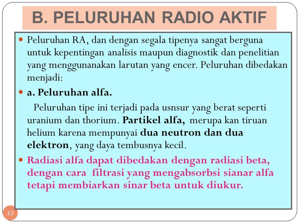 B. PELURUHAN RADIO AKTIF 12 Peluruhan RA, dan dengan segala tipenya sangat berguna untuk kepentingan analisis maupun diagnostik dan penelitian yang me