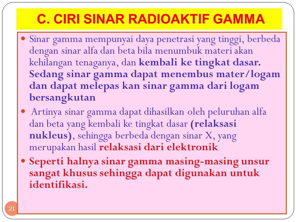 C. CIRI SINAR RADIOAKTIF GAMMA 21 Sinar gamma mempunyai daya penetrasi yang tinggi, berbeda dengan sinar alfa dan beta bila menumbuk materi akan kehil