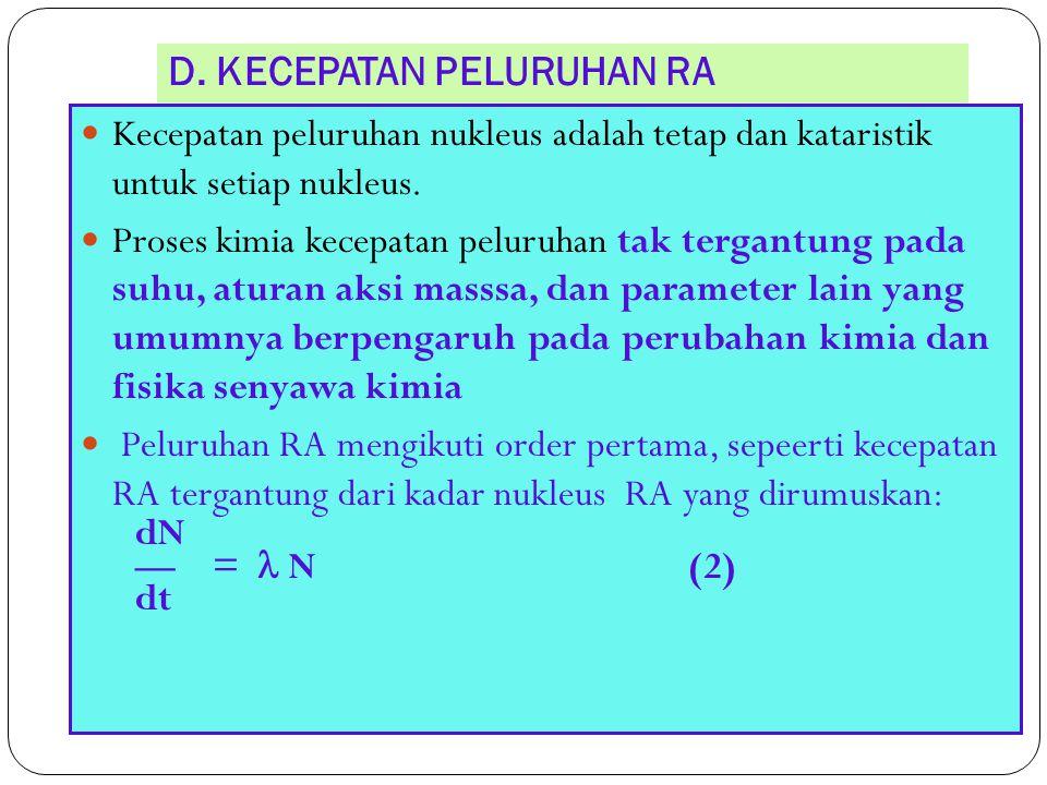 D. KECEPATAN PELURUHAN RA 24 Kecepatan peluruhan nukleus adalah tetap dan kataristik untuk setiap nukleus. Proses kimia kecepatan peluruhan tak tergan