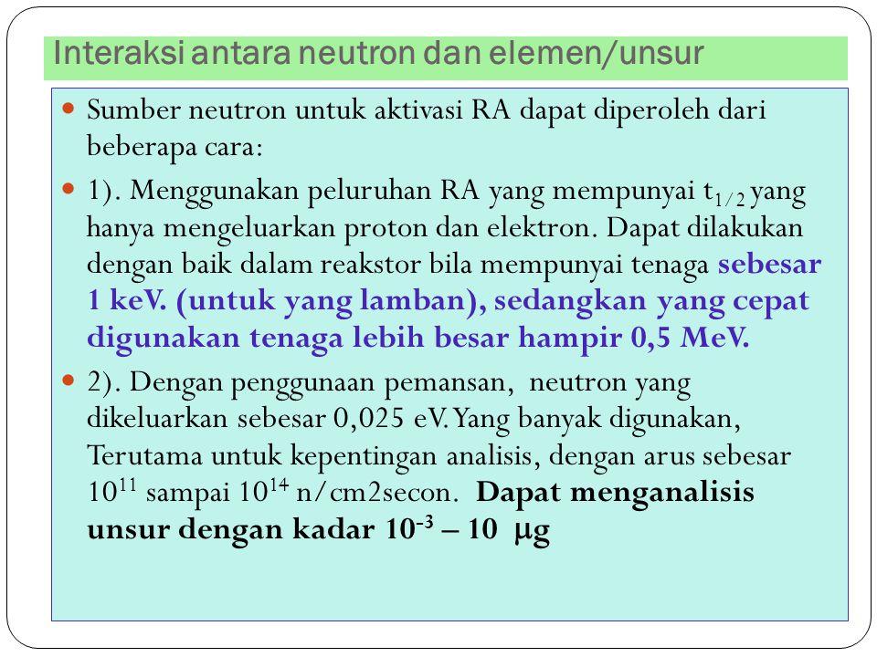 Interaksi antara neutron dan elemen/unsur 36 Sumber neutron untuk aktivasi RA dapat diperoleh dari beberapa cara: 1). Menggunakan peluruhan RA yang me