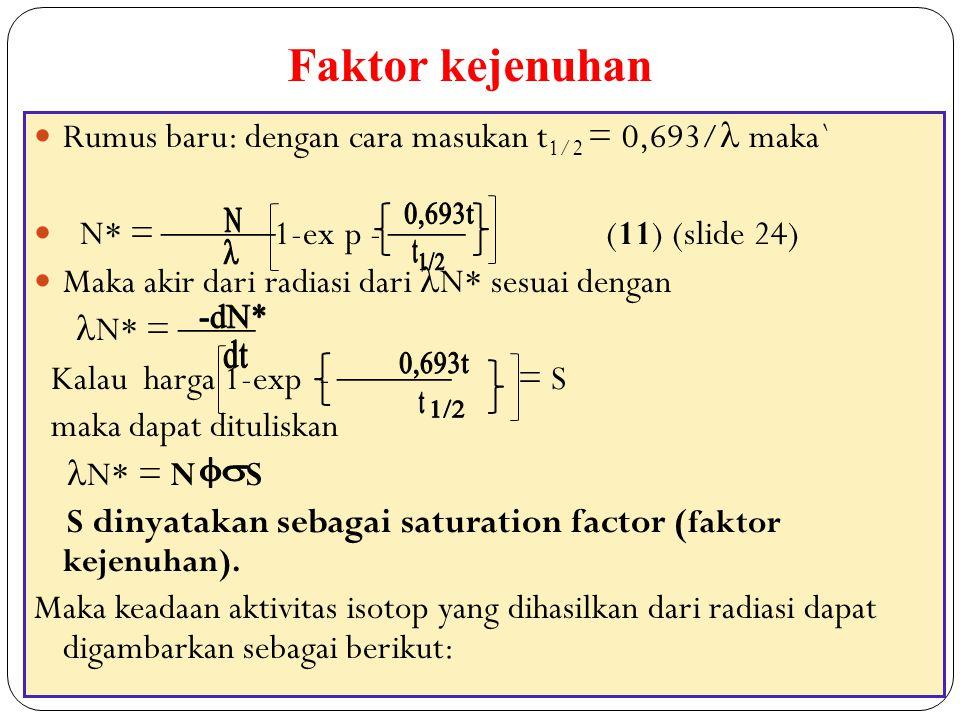 40 Rumus baru: dengan cara masukan t 1/2 = 0,693/ maka` N* =  1-ex p -  (11) (slide 24) Maka akir dari radiasi dari N* sesuai dengan N* =  Kala