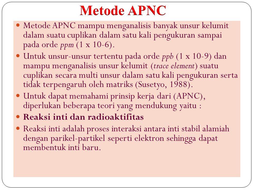 46 Metode APNC mampu menganalisis banyak unsur kelumit dalam suatu cuplikan dalam satu kali pengukuran sampai pada orde ppm (1 x 10-6). Untuk unsur-un