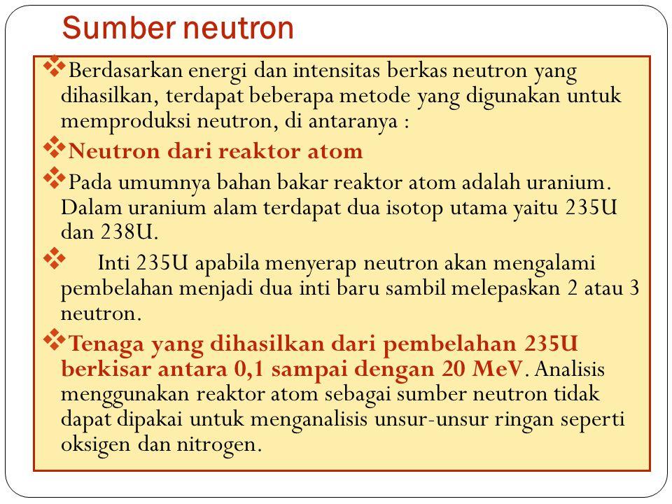 Sumber neutron 50  Berdasarkan energi dan intensitas berkas neutron yang dihasilkan, terdapat beberapa metode yang digunakan untuk memproduksi neutro