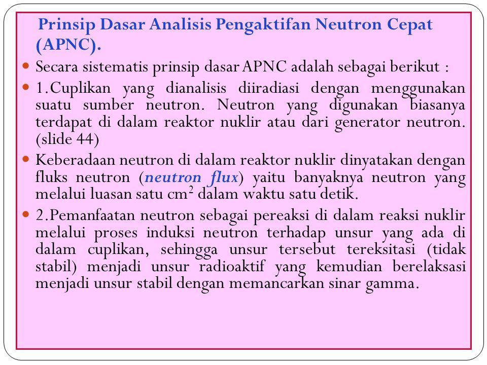 55 Prinsip Dasar Analisis Pengaktifan Neutron Cepat (APNC). Secara sistematis prinsip dasar APNC adalah sebagai berikut : 1.Cuplikan yang dianalisis d