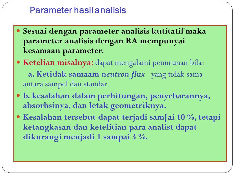 Parameter hasil analisis 63 Sesuai dengan parameter analisis kutitatif maka parameter analisis dengan RA mempunyai kesamaan parameter. Ketelian misaln