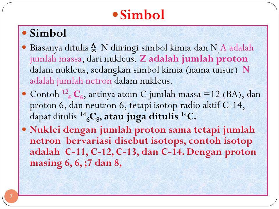 7 Simbol Biasanya ditulis N diiringi simbol kimia dan N, A adalah jumlah massa, dari nukleus, Z adalah jumlah proton dalam nukleus, sedangkan simbol k