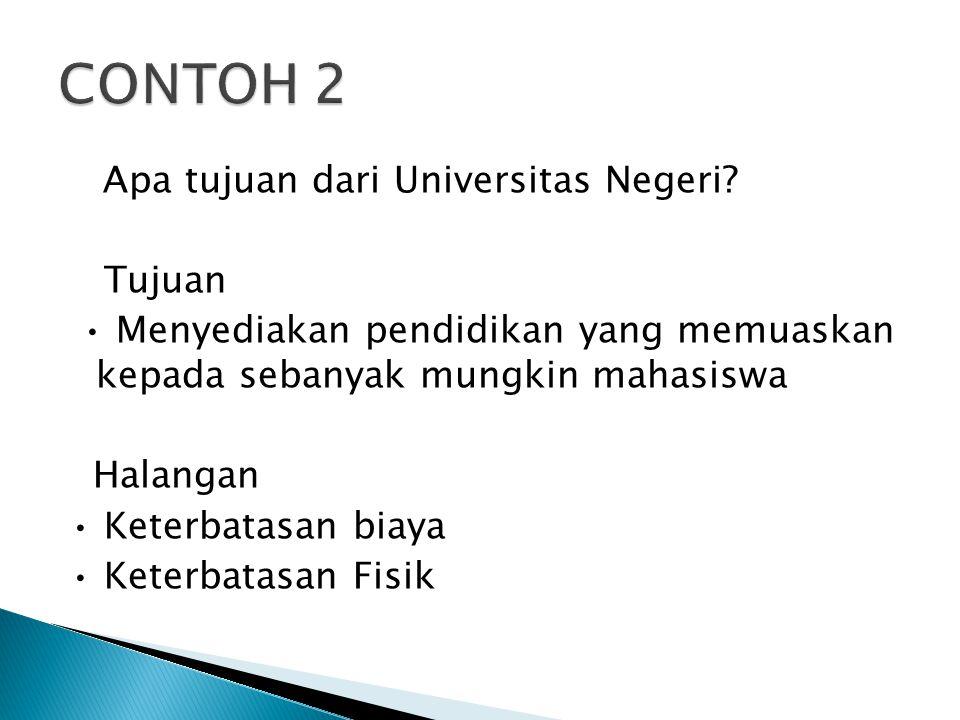 Apa tujuan dari Universitas Negeri? Tujuan Menyediakan pendidikan yang memuaskan kepada sebanyak mungkin mahasiswa Halangan Keterbatasan biaya Keterba