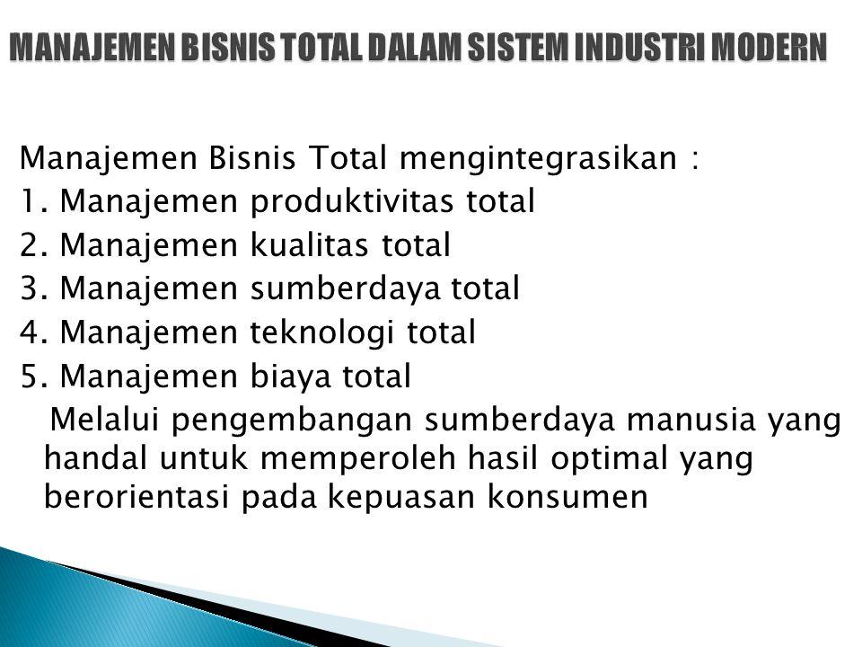 Manajemen Bisnis Total mengintegrasikan : 1. Manajemen produktivitas total 2. Manajemen kualitas total 3. Manajemen sumberdaya total 4. Manajemen tekn