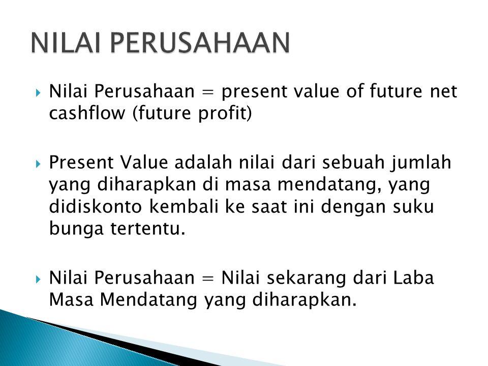  Nilai Perusahaan = present value of future net cashflow (future profit)  Present Value adalah nilai dari sebuah jumlah yang diharapkan di masa mend