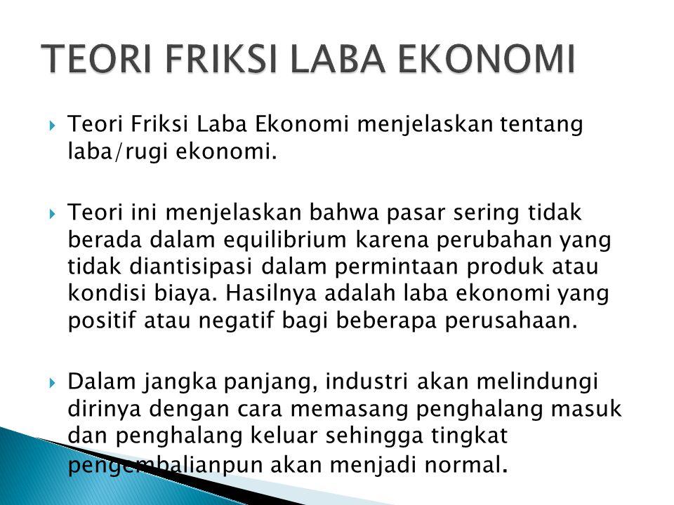  Teori Friksi Laba Ekonomi menjelaskan tentang laba/rugi ekonomi.  Teori ini menjelaskan bahwa pasar sering tidak berada dalam equilibrium karena pe