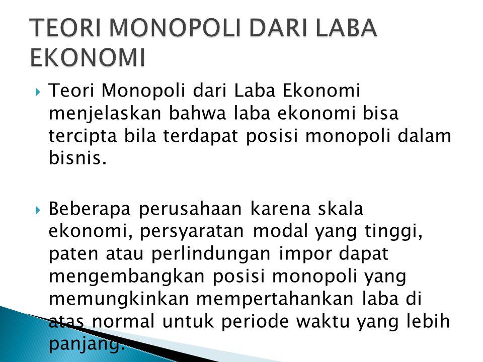  Teori Monopoli dari Laba Ekonomi menjelaskan bahwa laba ekonomi bisa tercipta bila terdapat posisi monopoli dalam bisnis.  Beberapa perusahaan kare