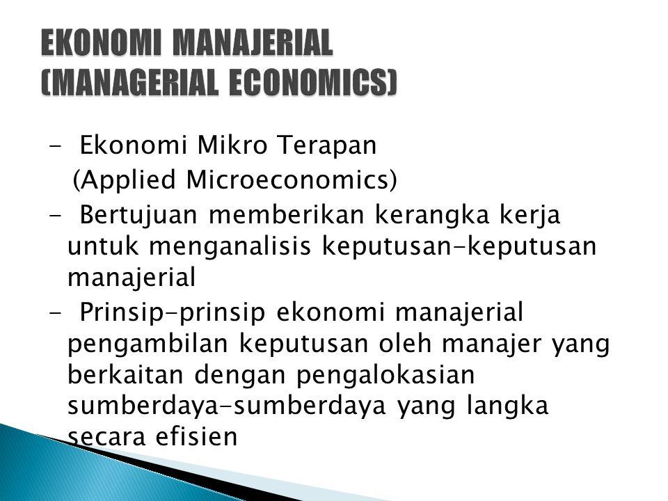 - Ekonomi Mikro Terapan (Applied Microeconomics) - Bertujuan memberikan kerangka kerja untuk menganalisis keputusan-keputusan manajerial - Prinsip-pri