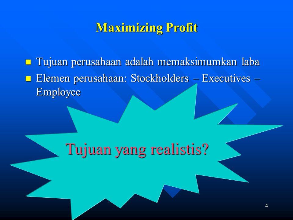 4 Maximizing Profit Tujuan perusahaan adalah memaksimumkan laba Tujuan perusahaan adalah memaksimumkan laba Elemen perusahaan: Stockholders – Executiv
