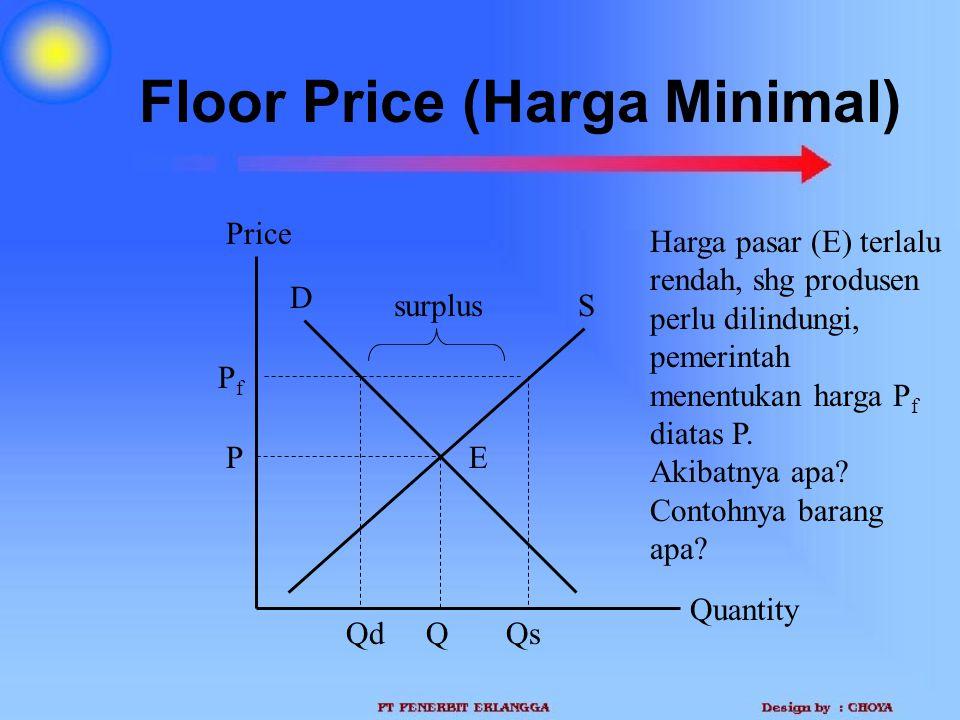 Floor Price (Harga Minimal) Quantity Price P Q D S Harga pasar (E) terlalu rendah, shg produsen perlu dilindungi, pemerintah menentukan harga P f diat
