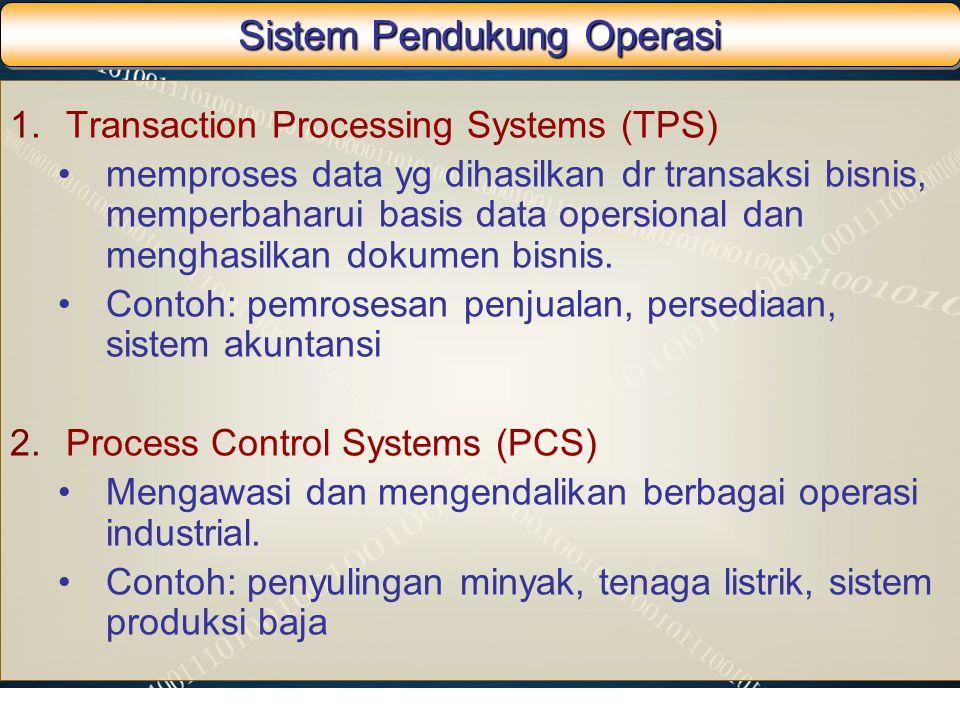 Sistem Pendukung Operasi 1.Transaction Processing Systems (TPS) memproses data yg dihasilkan dr transaksi bisnis, memperbaharui basis data opersional
