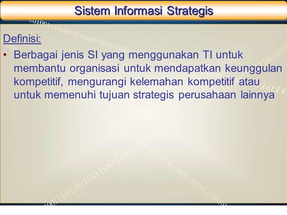 Sistem Informasi Strategis Definisi: Berbagai jenis SI yang menggunakan TI untuk membantu organisasi untuk mendapatkan keunggulan kompetitif, menguran