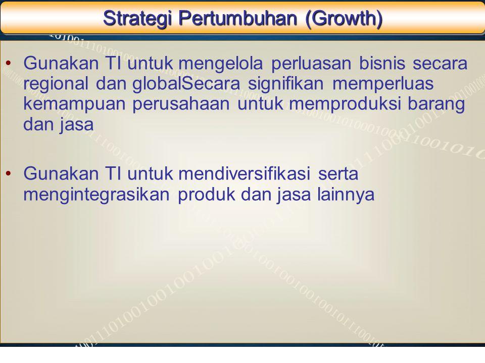 Strategi Pertumbuhan (Growth) Gunakan TI untuk mengelola perluasan bisnis secara regional dan globalSecara signifikan memperluas kemampuan perusahaan