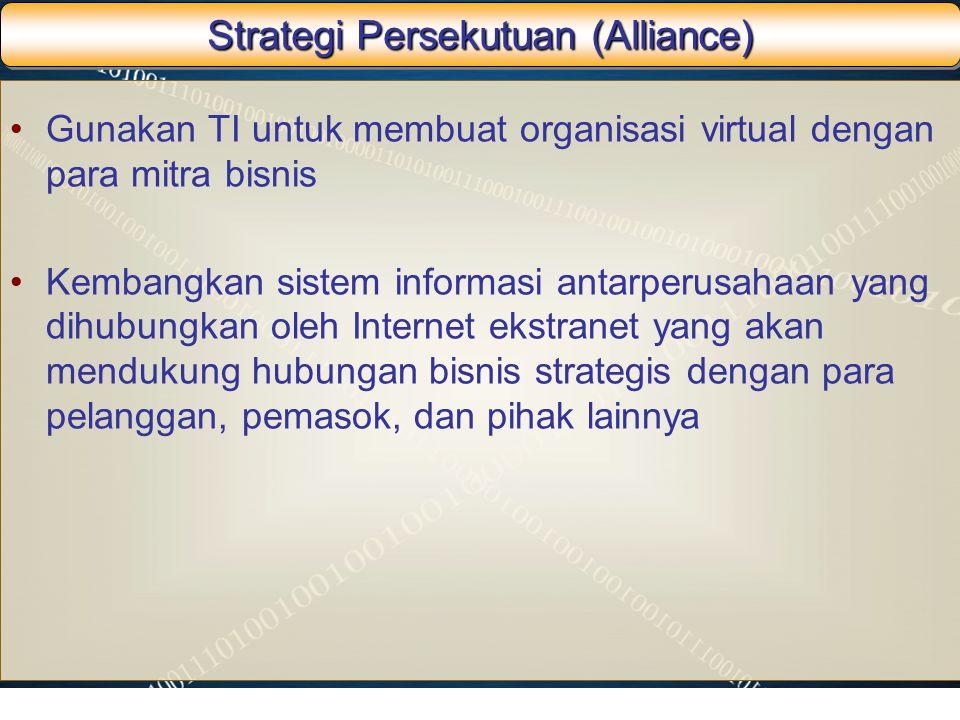 Strategi Persekutuan (Alliance) Gunakan TI untuk membuat organisasi virtual dengan para mitra bisnis Kembangkan sistem informasi antarperusahaan yang