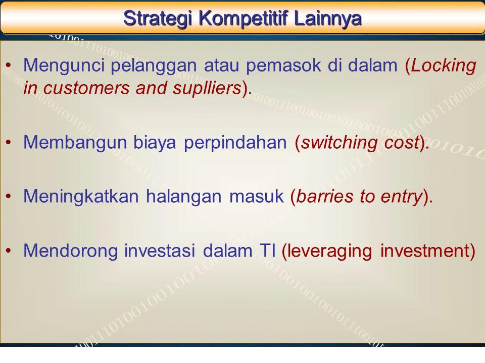 Strategi Kompetitif Lainnya Mengunci pelanggan atau pemasok di dalam (Locking in customers and suplliers). Membangun biaya perpindahan (switching cost