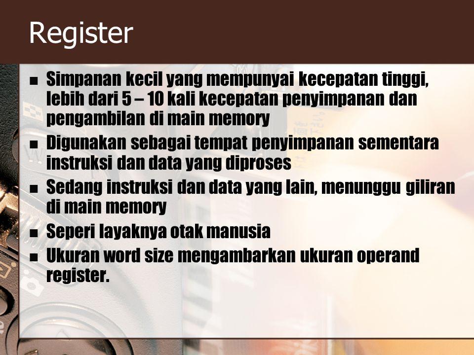 Register Simpanan kecil yang mempunyai kecepatan tinggi, lebih dari 5 – 10 kali kecepatan penyimpanan dan pengambilan di main memory Digunakan sebagai tempat penyimpanan sementara instruksi dan data yang diproses Sedang instruksi dan data yang lain, menunggu giliran di main memory Seperi layaknya otak manusia Ukuran word size mengambarkan ukuran operand register.