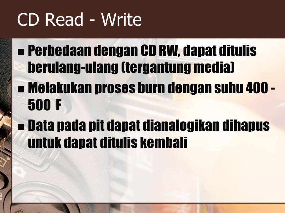 CD Read - Write Perbedaan dengan CD RW, dapat ditulis berulang-ulang (tergantung media) Melakukan proses burn dengan suhu 400 - 500 F Data pada pit dapat dianalogikan dihapus untuk dapat ditulis kembali