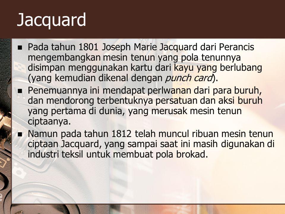 Jacquard Pada tahun 1801 Joseph Marie Jacquard dari Perancis mengembangkan mesin tenun yang pola tenunnya disimpan menggunakan kartu dari kayu yang berlubang (yang kemudian dikenal dengan punch card).
