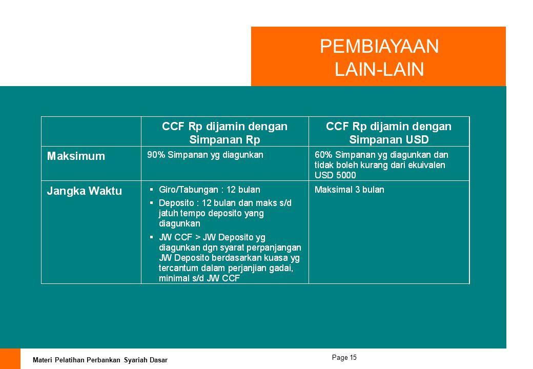 Materi Pelatihan Perbankan Syariah Dasar Page 14 PEMBIAYAAN LAIN-LAIN