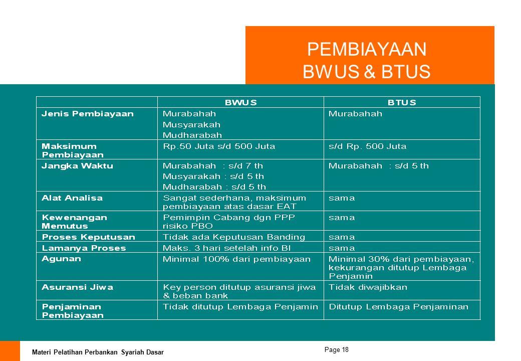Materi Pelatihan Perbankan Syariah Dasar Page 17 PEMBIAYAAN BWU/BTU