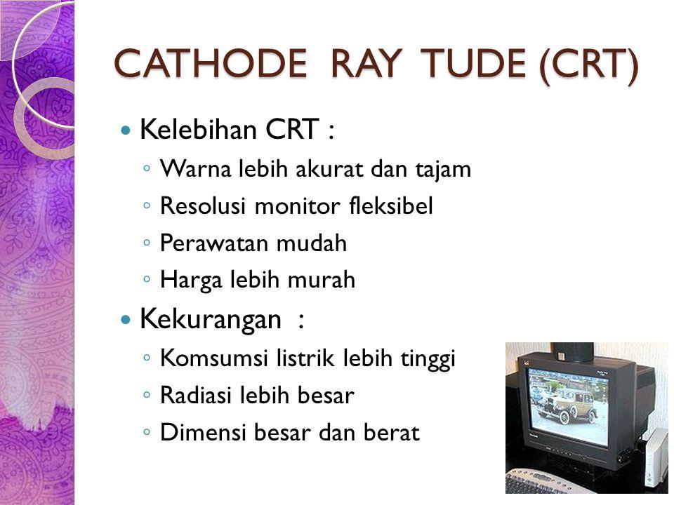 CATHODE RAY TUDE (CRT) Kelebihan CRT : ◦ Warna lebih akurat dan tajam ◦ Resolusi monitor fleksibel ◦ Perawatan mudah ◦ Harga lebih murah Kekurangan :