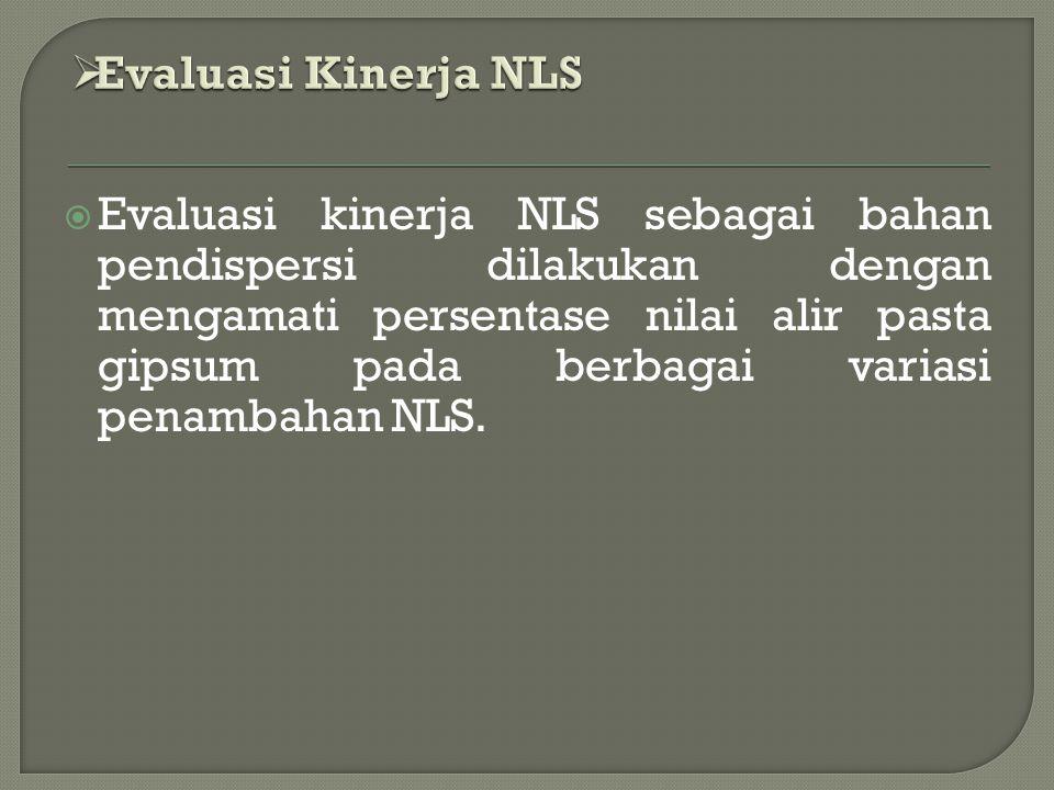  Evaluasi kinerja NLS sebagai bahan pendispersi dilakukan dengan mengamati persentase nilai alir pasta gipsum pada berbagai variasi penambahan NLS.