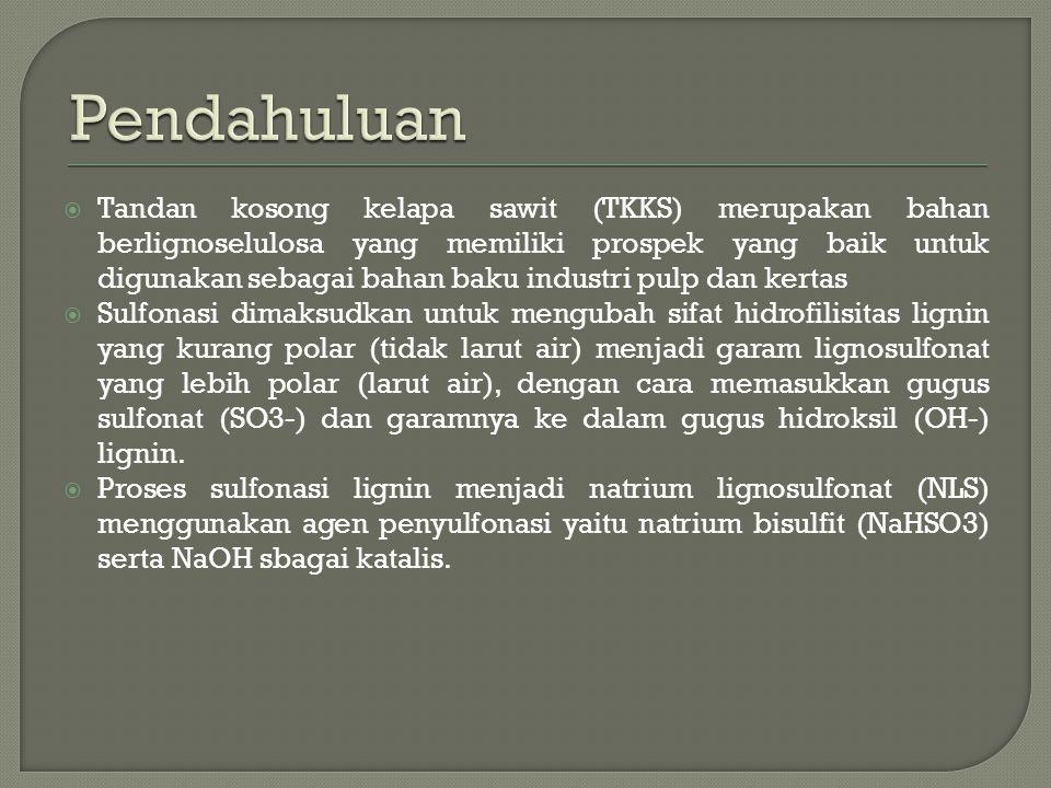  Tandan kosong kelapa sawit (TKKS) merupakan bahan berlignoselulosa yang memiliki prospek yang baik untuk digunakan sebagai bahan baku industri pulp dan kertas  Sulfonasi dimaksudkan untuk mengubah sifat hidrofilisitas lignin yang kurang polar (tidak larut air) menjadi garam lignosulfonat yang lebih polar (larut air), dengan cara memasukkan gugus sulfonat (SO3-) dan garamnya ke dalam gugus hidroksil (OH-) lignin.