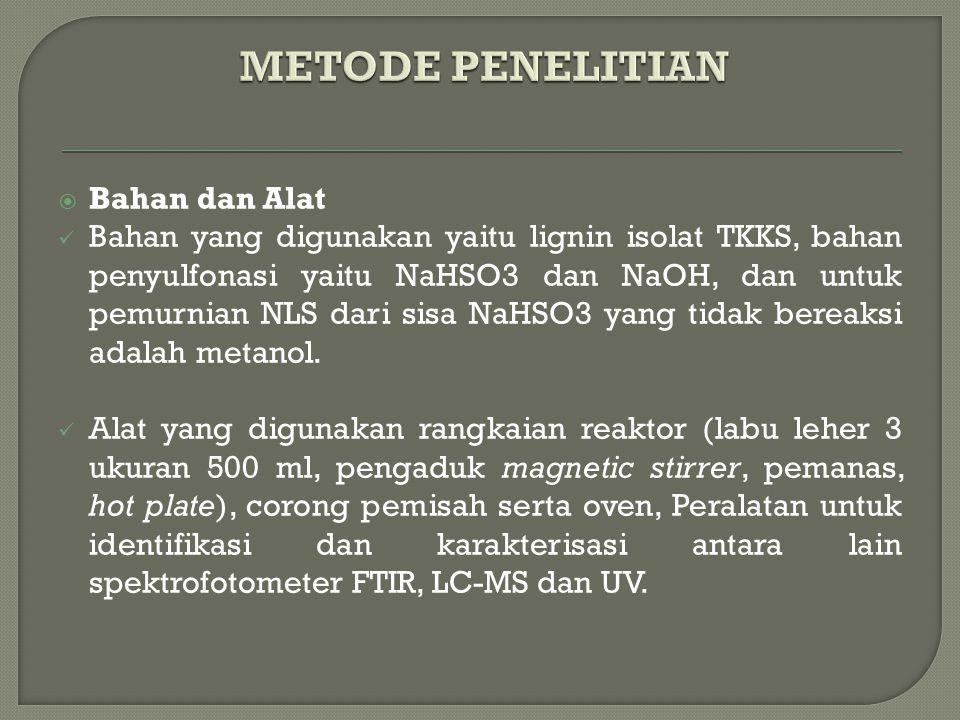  Bahan dan Alat Bahan yang digunakan yaitu lignin isolat TKKS, bahan penyulfonasi yaitu NaHSO3 dan NaOH, dan untuk pemurnian NLS dari sisa NaHSO3 yang tidak bereaksi adalah metanol.