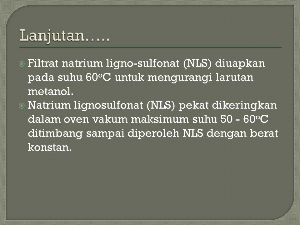  Filtrat natrium ligno-sulfonat (NLS) diuapkan pada suhu 60 o C untuk mengurangi larutan metanol.  Natrium lignosulfonat (NLS) pekat dikeringkan dal