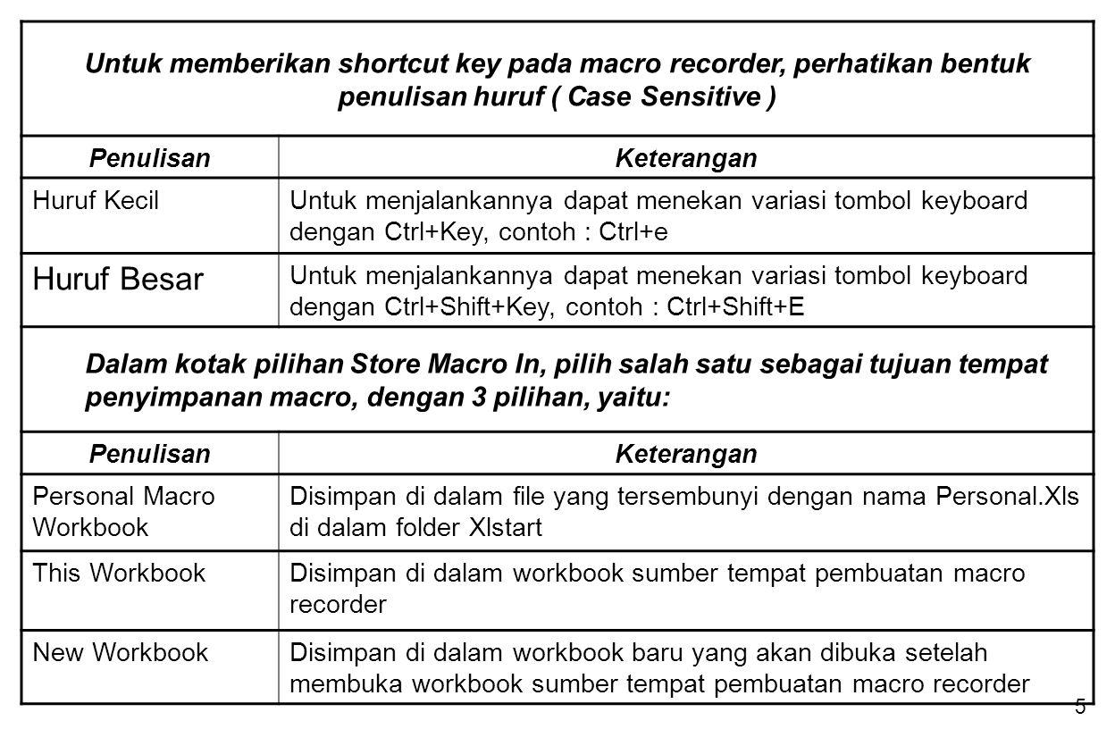6 MENJALANKAN PERINTAH MACRO Ada 2 cara untuk menjalankan perintah Macro : 1.Menjalankan Macro dalam Microsoft Excel 2.Menjalankan Macro dari lembar kerja Module / Code Visual Basic Perintah untuk menjalankan Macro Recorder :  Buka workbook yang berisikan Macro yang pernah dibuat  Pada menu Tools pilih submenu Macro -Macros  Di kotak Macro Name, masukkan nama macro yang ingin dijalankan dan tekan tombol Run Selain cara tersebut, Macro Recorder dapat pula dijalankan dengan perintah berikut ini : 1)Penekanan variasi tombol keyboard, Ctrl+Key atau Ctrl+Shift+Key 2)Penekanan tombol Shortcut Key yang dapat dilakukan bila pada kotak dialog Record New Macro telah mengisi kotak isian shortcut key.