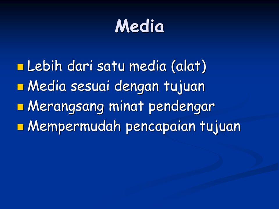 Media Lebih dari satu media (alat) Lebih dari satu media (alat) Media sesuai dengan tujuan Media sesuai dengan tujuan Merangsang minat pendengar Merangsang minat pendengar Mempermudah pencapaian tujuan Mempermudah pencapaian tujuan