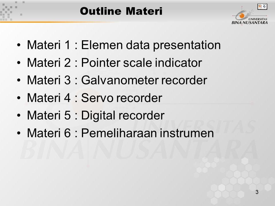 3 Outline Materi Materi 1 : Elemen data presentation Materi 2 : Pointer scale indicator Materi 3 : Galvanometer recorder Materi 4 : Servo recorder Materi 5 : Digital recorder Materi 6 : Pemeliharaan instrumen